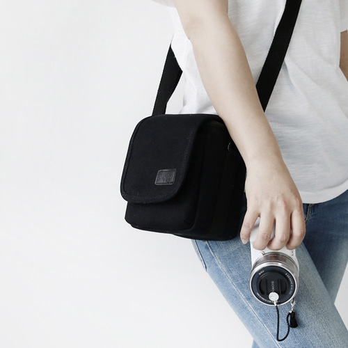 Simple black camera bag